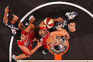 PERTH, AUSTRALIA - MARCH 01: Matt Knight of the Wildcats and Matt Burston of the Taipans contest a rebound during game two of the NBL Finals series between the Perth Wildcats and the Cairns Taipans at Perth Arena on March 1, 2015 in Perth, Australia.  (Photo by Paul Kane/Getty Images)