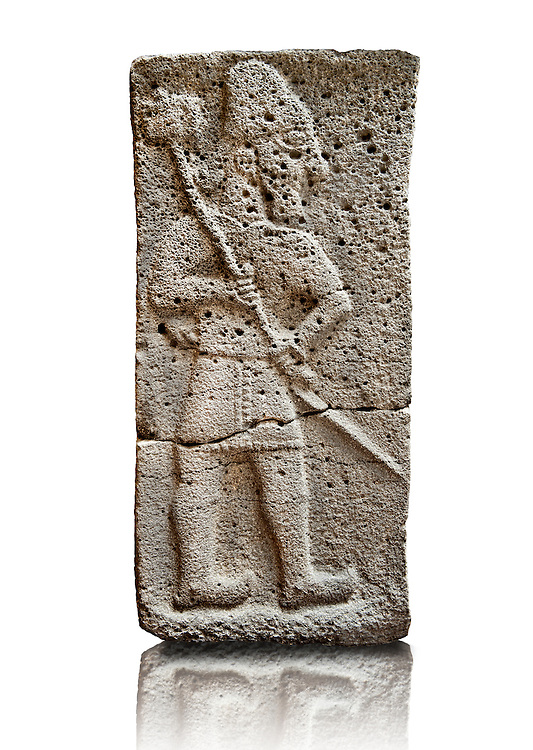 Late Hittite (Aramaean)  Basalt relief sculpture of a Male with Axe  from 9th Cent B.C, excavated from the west side of the citadel gate of Sam'al (Hittite: Yadiya) located at Zincirli Höyük in the Anti-Taurus Mountains of modern Turkey's Gaziantep Province. Istanbul Archaeological Museum  Inv No. 7727. .<br /> <br /> If you prefer to buy from our ALAMY STOCK LIBRARY page at https://www.alamy.com/portfolio/paul-williams-funkystock/hittite-art-antiquities.html - Type - Samal - into the LOWER SEARCH WITHIN GALLERY box. Refine search by adding background colour, place, museum etc<br /> <br /> Visit our HITTITE PHOTO COLLECTIONS for more photos to download or buy as wall art prints https://funkystock.photoshelter.com/gallery-collection/The-Hittites-Art-Artefacts-Antiquities-Historic-Sites-Pictures-Images-of/C0000NUBSMhSc3Oo