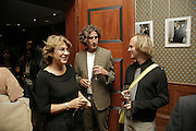 Jane Birkin, Stephen Bowen and Stuart Haggas, Launch of perfume: L'Air de Rien, The Arts Club, 40 Dover Street, London,New fragrance created for Birkin by perfumier Miller Harris. 4 September 2006. ONE TIME USE ONLY - DO NOT ARCHIVE  © Copyright Photograph by Dafydd Jones 66 Stockwell Park Rd. London SW9 0DA Tel 020 7733 0108 www.dafjones.com