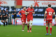 Jake Ball of the Scarlets © looks on. Guinness Pro12 rugby match, Ospreys v Scarlets at the Liberty Stadium in Swansea, South Wales on Saturday 26th March 2016.<br /> pic by  Andrew Orchard, Andrew Orchard sports photography.