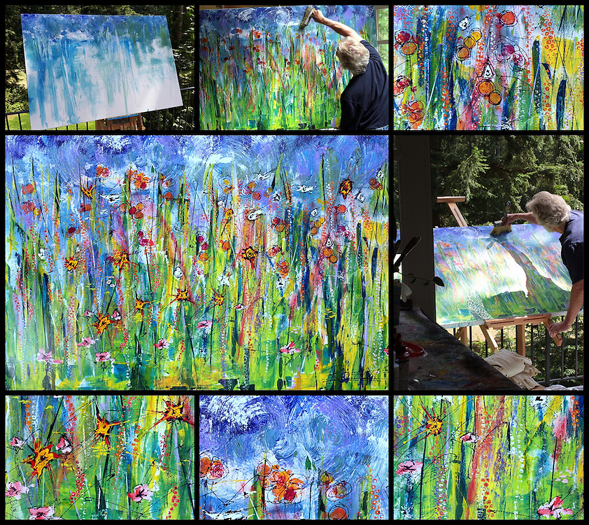 """The making of 'Sandy's Garden' . 44"""" x 64' . Acrylic on Canvas . 2016 . SOLD"""