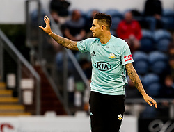 Surrey's Jade Dernbach celebrates taking the wicket of Glamorgan's David Lloyd<br /> <br /> Photographer Simon King/Replay Images<br /> <br /> Vitality Blast T20 - Round 14 - Glamorgan v Surrey - Friday 17th August 2018 - Sophia Gardens - Cardiff<br /> <br /> World Copyright © Replay Images . All rights reserved. info@replayimages.co.uk - http://replayimages.co.uk