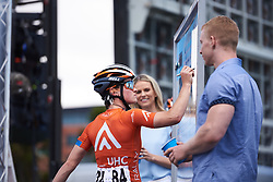 Heidi Franz (USA) signs on at Deakin University Elite Women Cadel Evans Road Race 2019, a 113 km road race starting and finishing in Geelong, Australia on January 26, 2019. Photo by Sean Robinson/velofocus.com