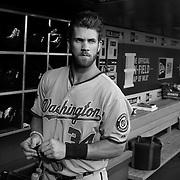 Bryce Harper, Washington Nationals, in the dugout during the New York Mets Vs Washington Nationals MLB regular season baseball game at Citi Field, Queens, New York. USA. 31st July 2015. Photo Tim Clayton