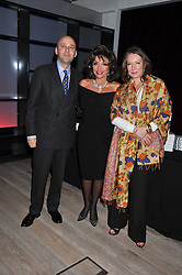 Left to right, ANDREAS CAMPOMAR,  JOAN COLLINS and GINA ROZNER at a party to celebrate the publication of Joan Collin's  autobiography - The World According to Joan, held at the British Film Institute, South Bank, London SE1 on 8th September 2011.