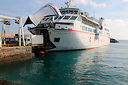 Vehicle disembarking from Armas ferry ship 'Volcan de Tindaya', Corralejo, Fuerteventura, Canary Islands, Spain
