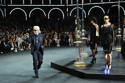A model wears a creation by Karl Lagerfeld for Chanel Fall-Winter 2011-2012 Haute-Couture collection presentation held at Grand Palais in Paris, France on July 5, 2011. Photo by Thierry Orban/ABACAPRESS.COM