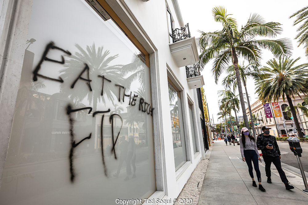 Rodeo Drive in Beverly Hills after being looted.<br /> Rioting and looting have ravaged the city over the past two days.<br /> 5/31/2020 Los Angeles, CA USA<br /> (Photo by Ted Soqui)