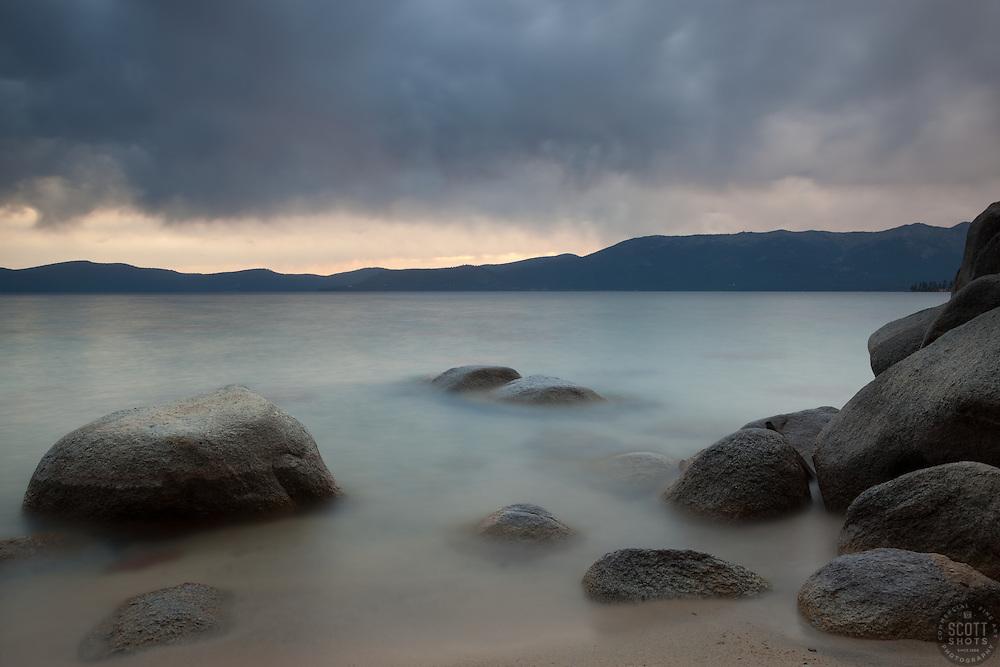 """Thunderbird Beach, lake Tahoe 1"" - Photograph of boulders at Thunderbird Beach, Lake Tahoe."
