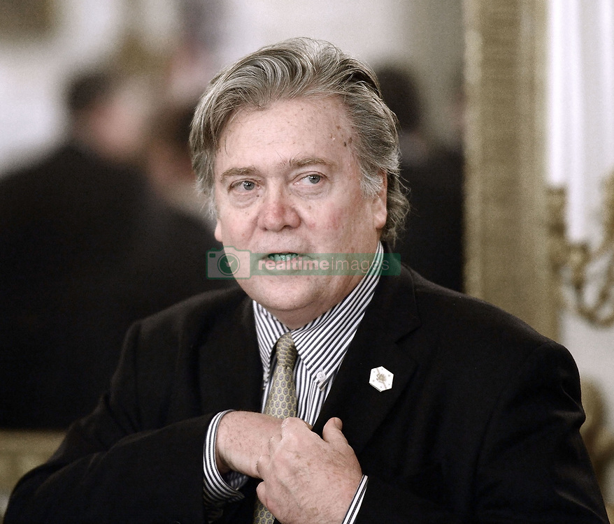 August 18, 2017: FILE PHOTO: President Trump's chief strategist STEVE BANNON has stepped down from his position at the White House. The resignation was effective on August 14th, exactly one year after he joined the Trump campaign. Pictured: February 23, 2017 - Washington, District of Columbia, United States of America - STEPHEN BANNON, President Trump's chief strategist attends a  listening session with manufacturing CEOs in the State Dining Room  of the White House. (Credit Image: © Olivier Douliery/Pool/CNP via ZUMA Wire)
