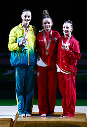 England's Alice Kinsella (centre) with her gold medal, Autsralia's Georgie-Rose Brown (left) with her silver medal and England's Kelly Simm with her bronze medal won in the Women's Balance Beam at the Coomera Indoor Sports Centre during day five of the 2018 Commonwealth Games in the Gold Coast, Australia.