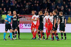 23-11-2019 NED: FC Utrecht - AZ Alkmaar, Utrecht<br /> Round 14 / Referee Bjorn Kuipers, Teun Koopmeiners #8 of AZ Alkmaar, Myron Boadu #9 of AZ Alkmaar, Willem Janssen #14 of FC Utrecht, Pantelis Hatzidiakos #3 of AZ Alkmaar, Mark van der Maarel #2 of FC Utrecht