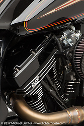 """""""Black Magic"""", built from a 1993 Harley-Davidson FXR by Duran Morley of Roland Sands Design in Los Alamitos, CA. Photographed by Michael Lichter in Sturgis, SD on August 9, 2017. ©2017 Michael Lichter."""