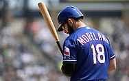 CHICAGO - APRIL 24:  Mitch Moreland #18 of the Texas Rangers looks on against the Chicago White Sox on April 24, 2016 at U.S. Cellular Field in Chicago, Illinois.  The White Sox defeated the Rangers 4-1.  (Photo by Ron Vesely)   Subject: Mitch Moreland