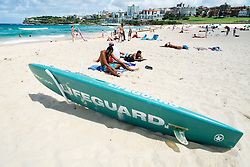 Lifeguard surfboard on Bondi Beach in Sydney New South Wales in Australia