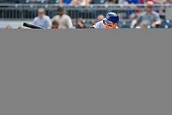 May 28, 2018 - Pittsburgh, PA, U.S. - PITTSBURGH, PA - MAY 28:   Chicago Cubs first baseman Anthony Rizzo (44) hits a 2 RBI single in the ninth inning during an MLB game between the Pittsburgh Pirates and Chicago Cubs on May 28, 2018 at PNC Park in Pittsburgh, PA. (Photo by Shelley Lipton/Icon Sportswire) (Credit Image: © Shelley Lipton/Icon SMI via ZUMA Press)