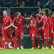 Turkey's Burak Yilmaz celebrate his goal with team mate during their UEFA Euro 2016 qualification Group A soccer match Turkey betwen Kazakhstan at AliSamiYen Arena in Istanbul November 16, 2014. Photo by Kurtulus YILMAZ/TURKPIX
