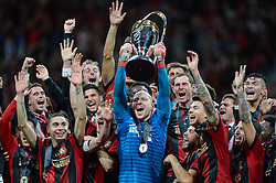 December 8, 2018 - Atlanta, GA, U.S. - ATLANTA, GA Ð DECEMBER 08:  Atlanta United players celebrate with the MLS Cup trophy during the post-game celebration following the conclusion of the MLS Cup between the Portland Timbers and Atlanta United FC on December 8th, 2018 at Mercedes-Benz Stadium in Atlanta, GA.  (Photo by Rich von Biberstein/Icon Sportswire) (Credit Image: © Rich Von Biberstein/Icon SMI via ZUMA Press)