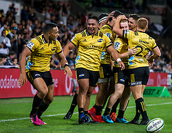 March 30, 2018 - Melbourne, VIC, U.S. - MELBOURNE, AUSTRALIA - MARCH 30 : Wellington Hurricanes celebrate another successful try during Round 7 of the Super Rugby Series between the Melbourne Rebels and the Wellington Hurricanes on March 30, 2018, at AAMI Park in Melbourne, Australia. (Photo by Jason Heidrich/Icon Sportswire) (Credit Image: © Jason Heidrich/Icon SMI via ZUMA Press)