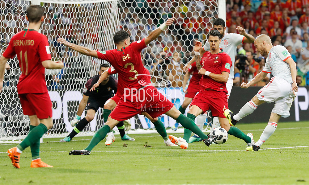 David Silva of Spain and Pepe and Jose Fonte of Portugal during the 2018 FIFA World Cup Russia, Group B football match between Portugal and Spain on June 15, 2018 at Fisht Stadium in Sotschi, Russia - Photo Tarso Sarraf / FramePhoto / ProSportsImages / DPPI