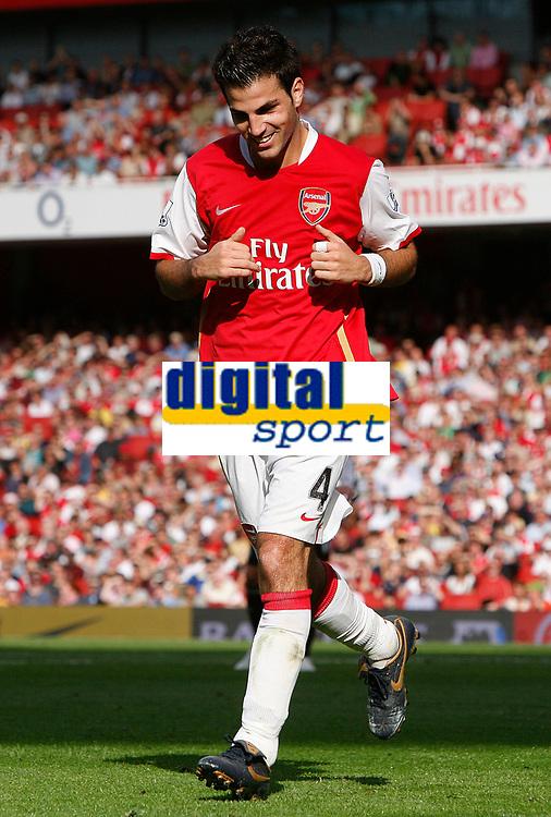 Photo: Steve Bond.<br />Arsenal v Derby County. The FA Barclays Premiership. 22/09/2007. Cesc Fabrigas enjoys himself