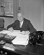 24th April 1960<br /> <br /> Minister for Finance James Ryan on Budget Day.