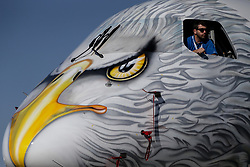June 18, 2017 - Paris, France - The Brazilian Embraer airframer has painted the nose of the E195-E2 prototype aircraft (PR-ZIJ), dubbed ''Profit Hunter'', with a striking image of a golden eagle, during prepapations for the 52nd Paris International Airshow in Le Bourget, whic officially opens on Monday, June 19. (Credit Image: © Russian Look via ZUMA Wire)