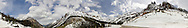 Panorama of Washington Pass on the North Cascades Scenic Highway in Washington State, USA.  Peaks include Hinkhouse Peak, Vasiliki Ridge, Kangaroo Ridge, Early Winter Spires and Liberty Bell Mountain.