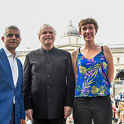 Photocall of Sadiq Khan,Sir Simon Rattle, KATE WHITLEY at the BMW Classics + live streamed on YouTube in Trafalgar Square on a hot weather in London, UK on July 1st 2018.