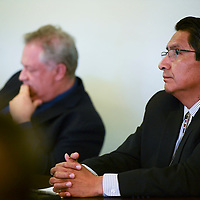 Presidential candidate Jonathan Nez and his attorney David Jordan at his hearing, Wednesday, Sept. 26, 2018 in Window Rock at the Office of Hearing and Appeals (OHA)  investigating a complaint filed by Vincent Yazzie concerning a DWI conviction. OHA ruled in favor of Nez because the conviction is more than 5 years old.