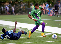 09 May 2015. New Orleans, Louisiana.<br /> Ryan Reid of the New Orleans Jesters plays the season opener at the Pan American Stadium against Jacksonville United. Jacksonville win 2-1 in a tense game.<br /> Photo; Charlie Varley/varleypix.com