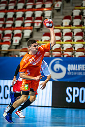 The Dutch handball player Kay Smits in action during the European Championship qualifying match against Turkey in the Topsport Center Almere.