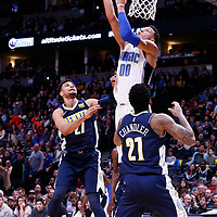 11 November 2017: Orlando Magic forward Aaron Gordon (00) goes for the reverse layup during the Denver Nuggets 125-107 victory over the Orlando Magic, at the Pepsi Center, Denver, Colorado, USA.