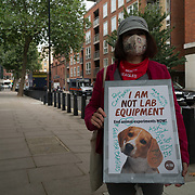 2021-08-31 Home Office, London, UK. The cruel secret, UK dogs lovers no meat the use of dogs in animal experiments - Free the MBR beagle. Animal rights protestors demand Home Secretary Priti Patel stop the use of dogs in animal experiments.