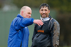 Bristol Director of Rugby Andy Robinson talks to New Signing Gavin Henson who trains ahead of his First Team debut against Moseley on Sunday 15th February - Photo mandatory by-line: Rogan Thomson/JMP - 07966 386802 - 13/02/2015 - SPORT - RUGBY UNION - Bristol, England - Bristol Rugby Club Training Ground, Station Road, Henbury - Training Session.