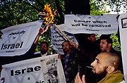 Muslim protesters burn an Isreali flag outside the Regents Park Mosque in a demonstration against Israel and the West.