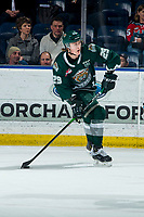 KELOWNA, BC - FEBRUARY 28: Wyatte Wylie #29 of the Everett Silvertips skates with the puck against the Kelowna Rockets at Prospera Place on February 28, 2020 in Kelowna, Canada. Wylie is a 2018 NHL entry draft pick of the Philladelphia Flyers. (Photo by Marissa Baecker/Shoot the Breeze)