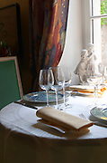 Table by the window. Restaurant La Cote des Monts Damnes. Chavignol, Sancerre, Loire, France