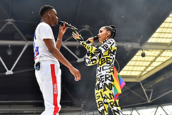 NOT3S and Mabel during Capital's Summertime Ball with Vodafone at Wembley Stadium, London. This summer's hottest artists performed live for 80,000 Capital listeners at Wembley Stadium at the UK's biggest summer party. Performers included Camila Cabello, Shawn Mendes, Rita Ora, Charlie Puth, Jess Glyne, Craig David, Anne-Marie, Rudimental, Sean Paul, Clean Bandit, James Arthur, Sigala, Years & Years, Jax Jones, Raye, Jonas Blue, Mabel, Stefflon Don, Yungen and G-Eazy