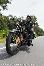 """Andreas """"Andy"""" Kaindl of Southern Germany riding his 1924 Henderson Deluxe during Stage 1 of the Motorcycle Cannonball Cross-Country Endurance Run, which on this day ran from Daytona Beach to Lake City, FL., USA. Friday, September 5, 2014.  Photography ©2014 Michael Lichter."""