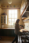 Barbara Edgar in the kitchen Vanbrugh Castle, Greenwich, London, UK CREDIT: Vanessa Berberian for The Wall Street Journal. VANBRUGH