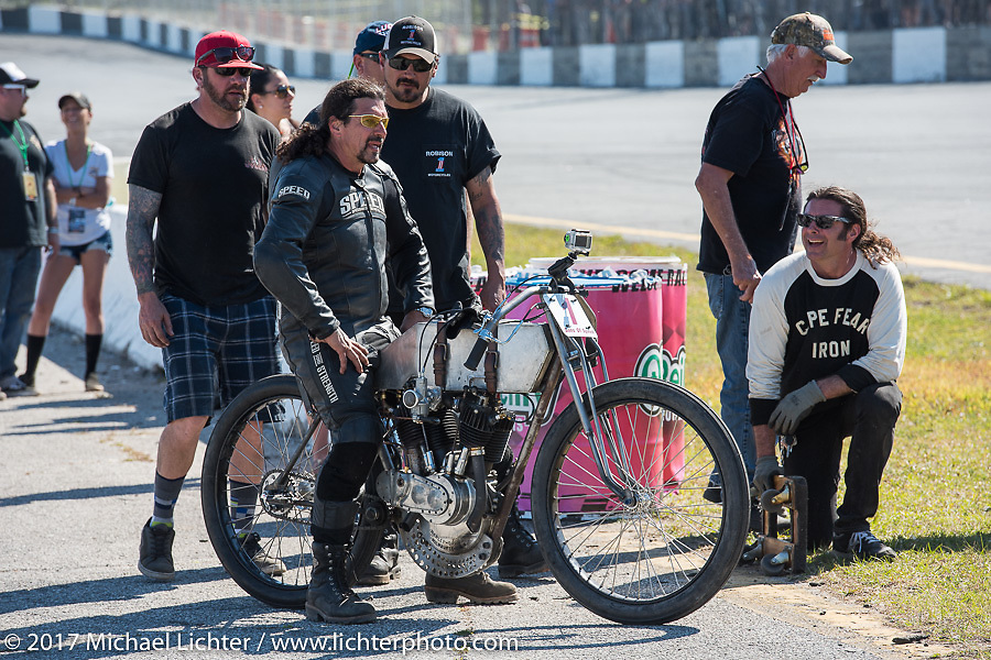 Billy Lane on his 1924 single-speed 1924 Harley-Davidson Model J 62 cubic inch racer watches the end of the finals in Billy's Son's of Speed race during Daytona Bike Week. New Smyrna Beach, FL. USA. Saturday March 18, 2017. Photography ©2017 Michael Lichter.