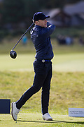 5th October 2017, The Old Course, St Andrews, Scotland; Alfred Dunhill Links Championship, first round; Ronan Keating tees off on the fifth
