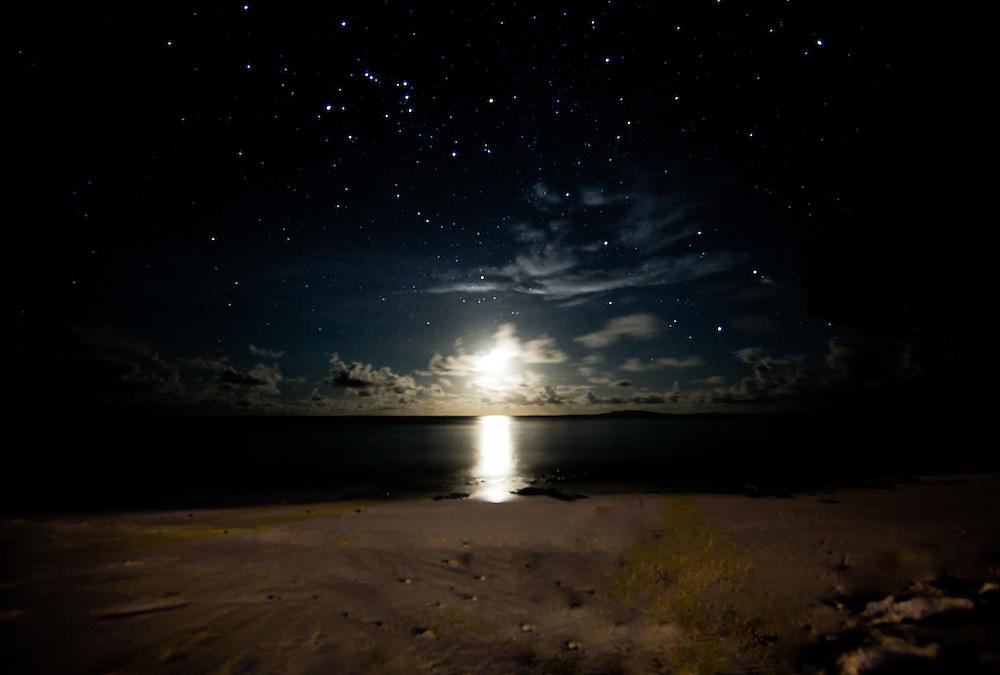 Striking Shot of Stars and Sunset over Beach, Fiji