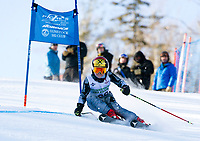 Adam Hamblet of Meredith competes in the U12 division of the annual Gus Pitou memorial giant slalom race on Sunday with the Gunstock Ski Club.  (Karen Bobotas/for the Laconia Daily Sun)