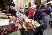 Parma. A typical delicatessen with Salami, suckling pig, Parma Ham, Parmigiano cheese, pasta & co.