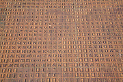 Detail of typesetting characters used to celebrate the tradition of printing industry in Fakenham, Norfolk, England