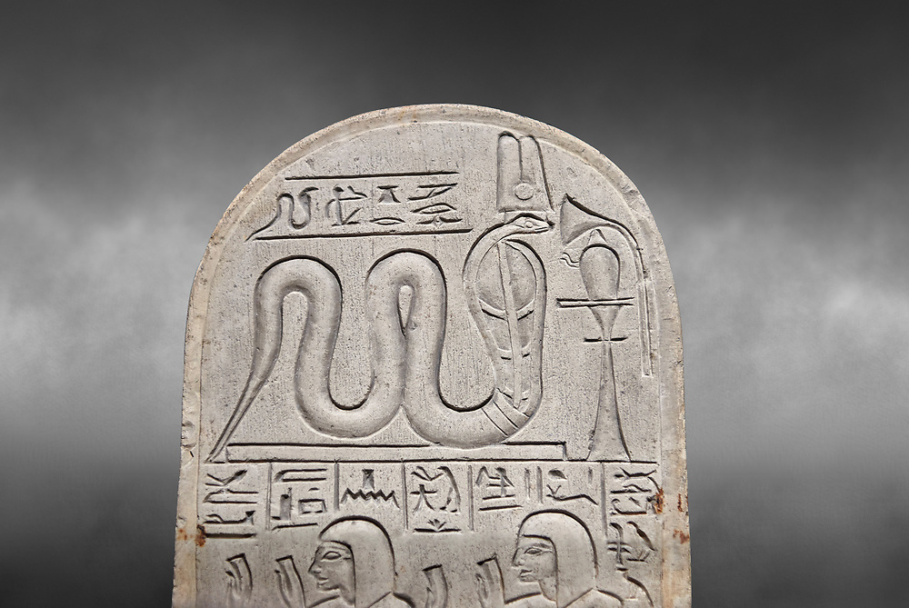 Ancient Egyptian stele dedicated by Pendua to Meretsesger, limestone, New Kingdom, 19th Dynasty, (1279-1213 BC), Deir el-Medina, Old Fund cat 1564. Egyptian Museum, Turin. Grey background .<br /> <br /> If you prefer to buy from our ALAMY PHOTO LIBRARY  Collection visit : https://www.alamy.com/portfolio/paul-williams-funkystock/ancient-egyptian-art-artefacts.html  . Type -   Turin   - into the LOWER SEARCH WITHIN GALLERY box. Refine search by adding background colour, subject etc<br /> <br /> Visit our ANCIENT WORLD PHOTO COLLECTIONS for more photos to download or buy as wall art prints https://funkystock.photoshelter.com/gallery-collection/Ancient-World-Art-Antiquities-Historic-Sites-Pictures-Images-of/C00006u26yqSkDOM