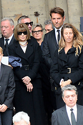 Anna Wintour and Bradley Cooper leaving the funeral service for late photographer Peter Lindbergh held at Saint Sulpice church in Paris, France on September 24, 2019. Photo by ABACAPRESS.COM