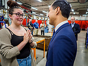 15 APRIL 2019 - DES MOINES, IOWA: JULIÁN CASTRO talks to welding student LAUREN MITCHELL, during Castro's visit to the Central Campus Skilled Trades Alliance at the Des Moines Public School's Central Campus Monday. Castro is on his third visit to Iowa since declaring his candidacy for the Democratic ticket of the US Presidency. Casto talked to students and administrators about skilled trades education and toured the campus. Iowa traditionally hosts the the first selection event of the presidential election cycle. The Iowa Caucuses will be on Feb. 3, 2020.               PHOTO BY JACK KURTZ